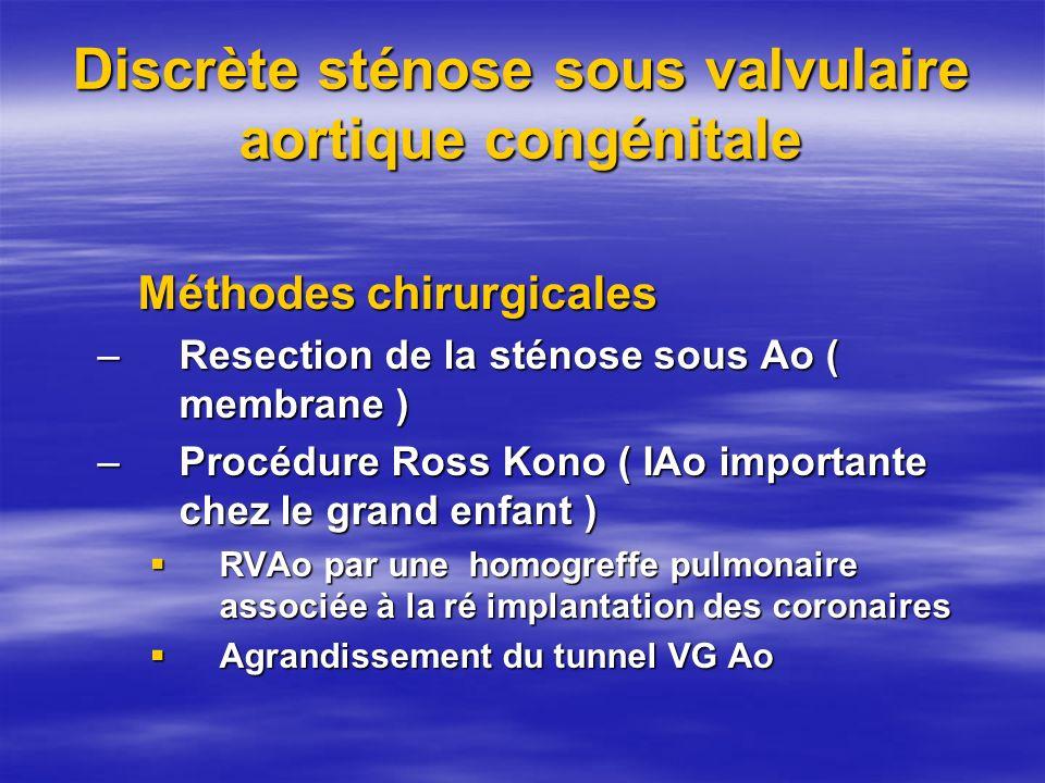 Discrète sténose sous valvulaire aortique congénitale Méthodes chirurgicales –Resection de la sténose sous Ao ( membrane ) –Procédure Ross Kono ( IAo