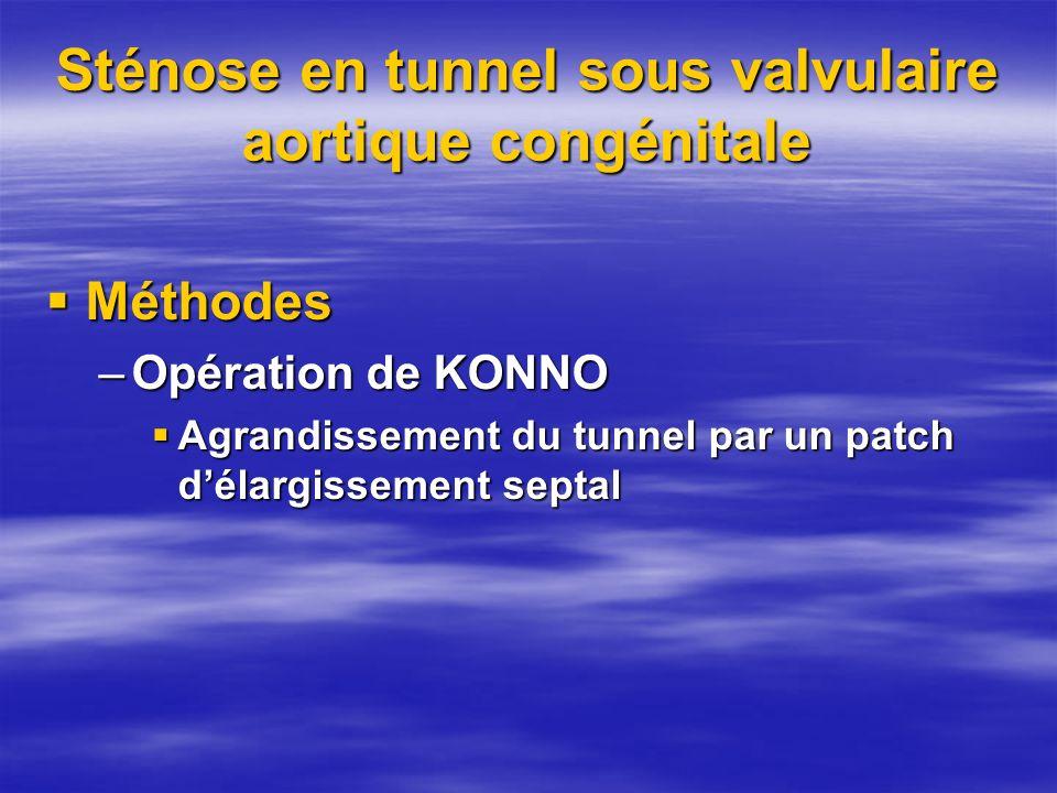 Sténose en tunnel sous valvulaire aortique congénitale Méthodes Méthodes –Opération de KONNO Agrandissement du tunnel par un patch délargissement sept