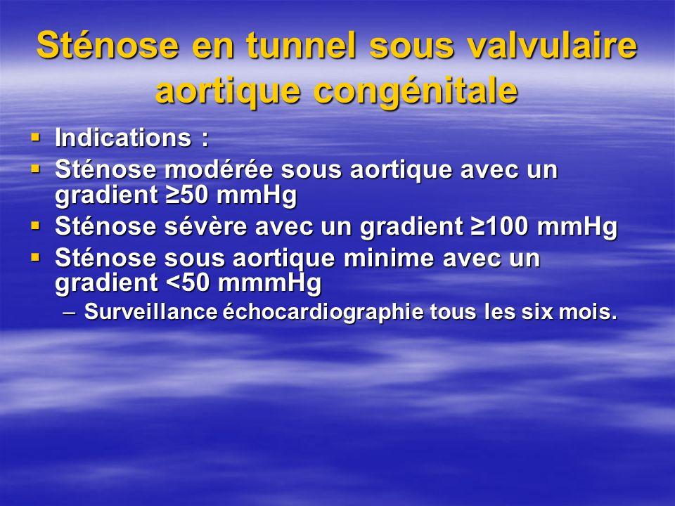 Sténose en tunnel sous valvulaire aortique congénitale Indications : Indications : Sténose modérée sous aortique avec un gradient 50 mmHg Sténose modé