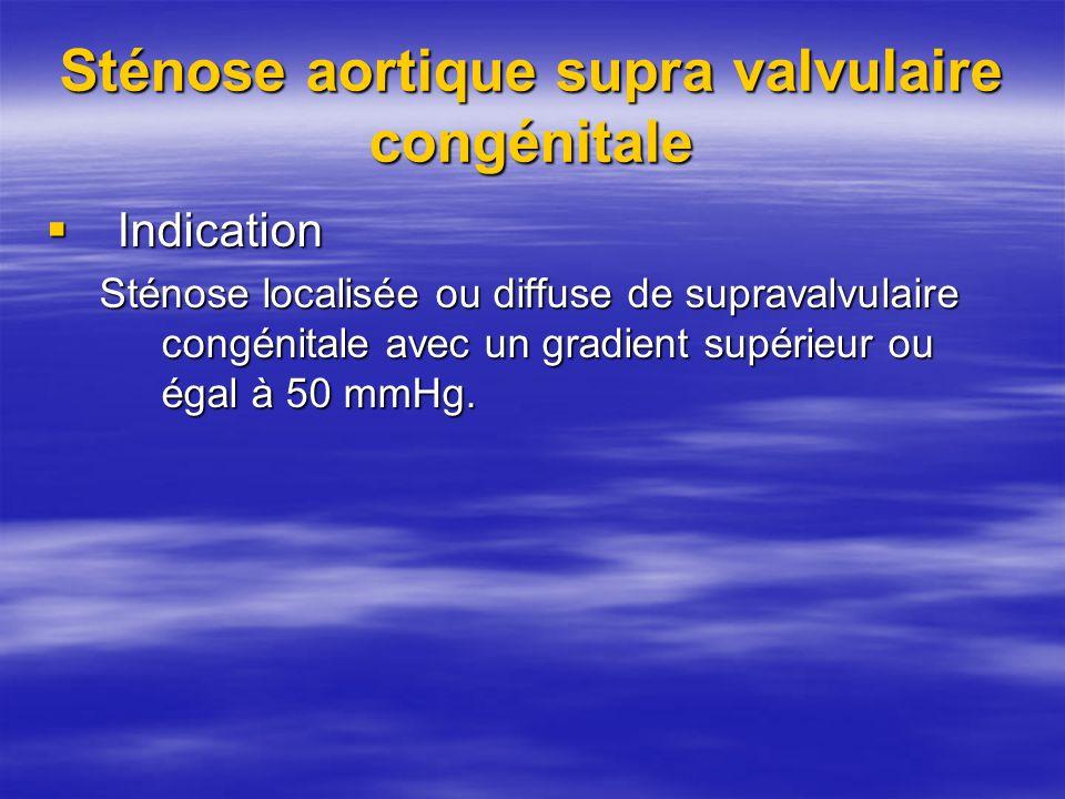 Sténose aortique supra valvulaire congénitale Indication Indication Sténose localisée ou diffuse de supravalvulaire congénitale avec un gradient supér