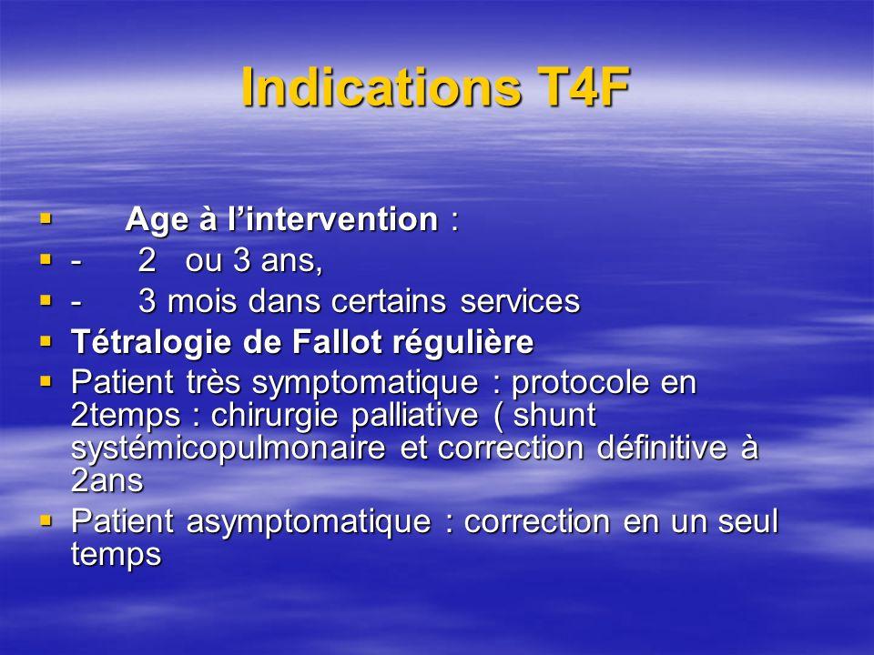 INDICATIONS T4F Tétralogie de Fallot irrégulière Tétralogie de Fallot irrégulière Patient asymptomatique : Patient asymptomatique : –Indice de NAKATA supérieur à 120 : correction complète en un temps à 2ans –Indice de NAKATA inférieur à 120 : protocole en 2 temps