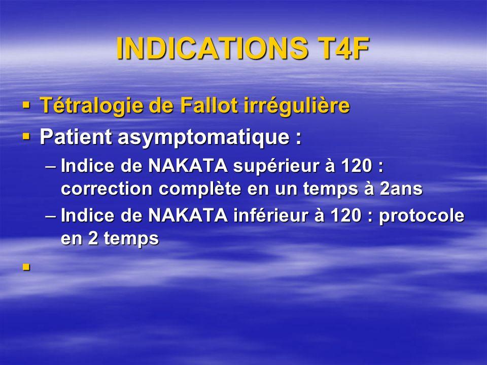 Indications T4F Patient symptomatique, age supérieur ou égal à 2 ans Patient symptomatique, age supérieur ou égal à 2 ans –Indice de NAKATA supérieur ou inférieur à 120 : correction en 2 temps Cas particulier de la Tétralogie de Fallot avec une anomalie de coronaire traversant linfundibulum Cas particulier de la Tétralogie de Fallot avec une anomalie de coronaire traversant linfundibulum Correction en 2 temps : –shunt systémicopulmonaire –correction complète associée à une homogreffe pulmonaire VD AP