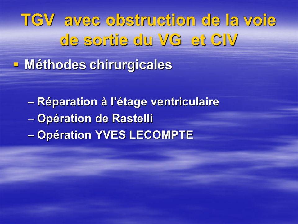 TGV avec obstruction de la voie de sortie du VG et CIV Méthodes chirurgicales Méthodes chirurgicales –Réparation à létage ventriculaire –Opération de