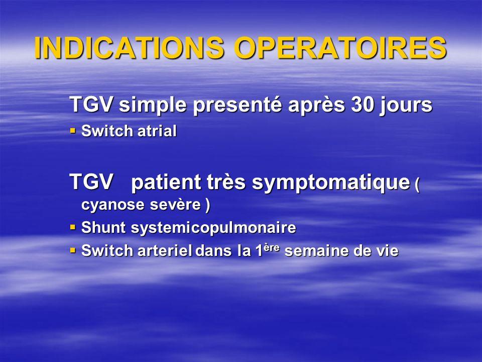 INDICATIONS OPERATOIRES TGV simple presenté après 30 jours Switch atrial Switch atrial TGV patient très symptomatique ( cyanose sevère ) Shunt systemi