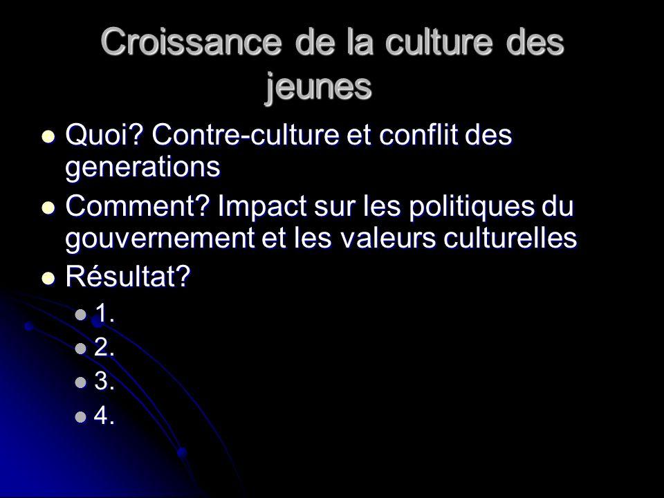 Croissance de la culture des jeunes Quoi. Contre-culture et conflit des generations Quoi.