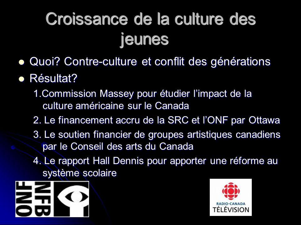 Croissance de la culture des jeunes Quoi. Contre-culture et conflit des générations Quoi.