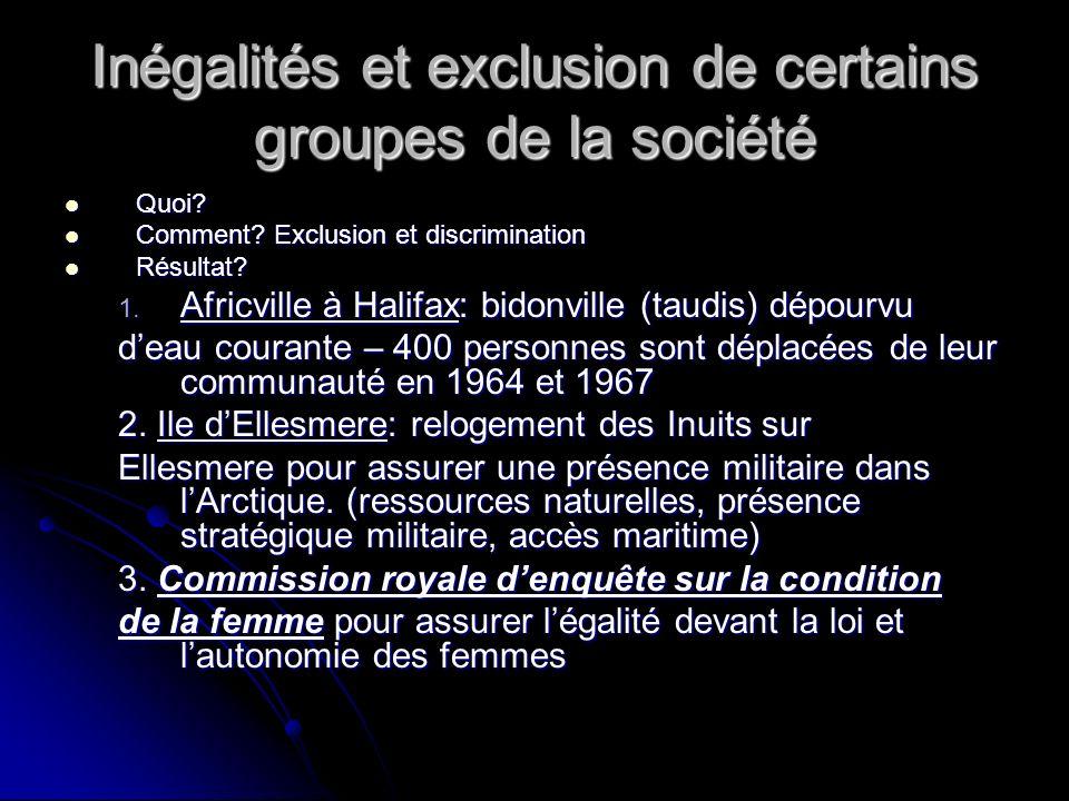 Inégalités et exclusion de certains groupes de la société Quoi.