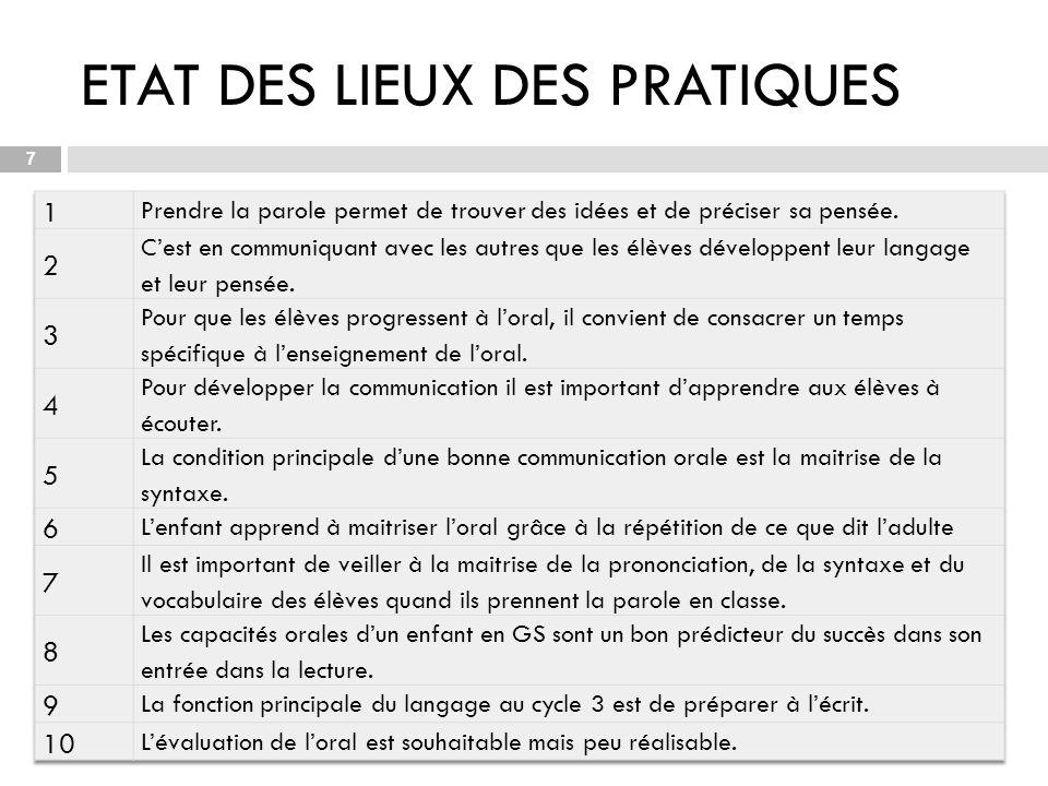 ETAT DES LIEUX DES PRATIQUES 07/11/2013 7