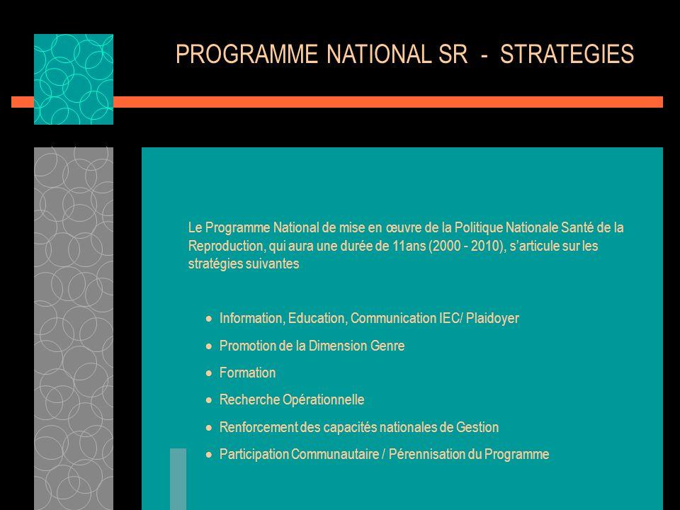 PROGRAMME NATIONAL SR - STRATEGIES Le Programme National de mise en œuvre de la Politique Nationale Santé de la Reproduction, qui aura une durée de 11
