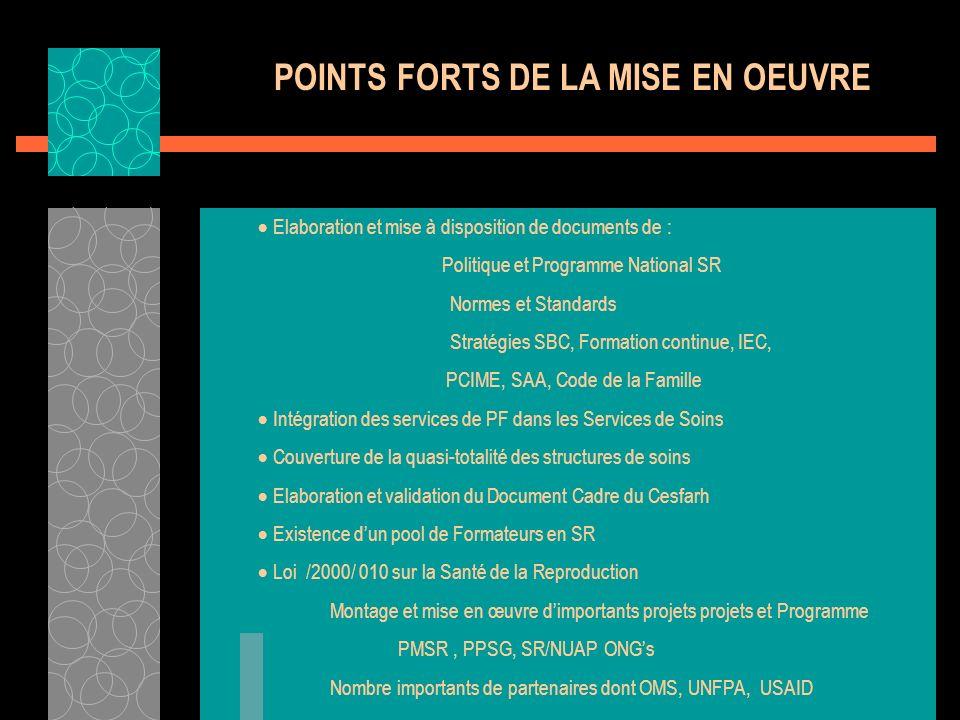 POINTS FORTS DE LA MISE EN OEUVRE Elaboration et mise à disposition de documents de : Politique et Programme National SR Normes et Standards Stratégie