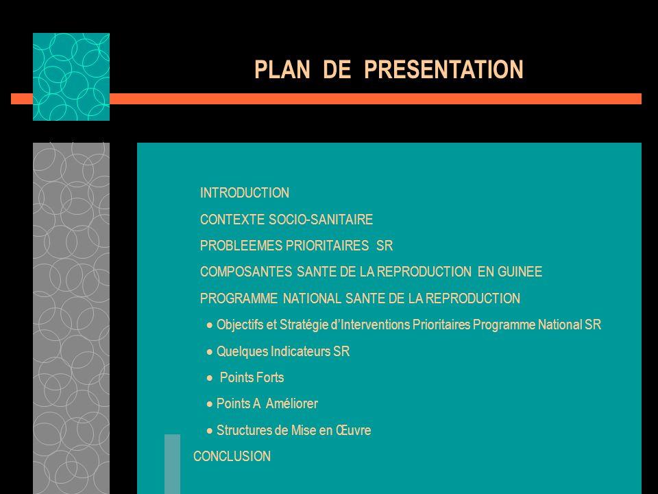 INTRODUCTION CONTEXTE SOCIO-SANITAIRE PROBLEEMES PRIORITAIRES SR COMPOSANTES SANTE DE LA REPRODUCTION EN GUINEE PROGRAMME NATIONAL SANTE DE LA REPRODU