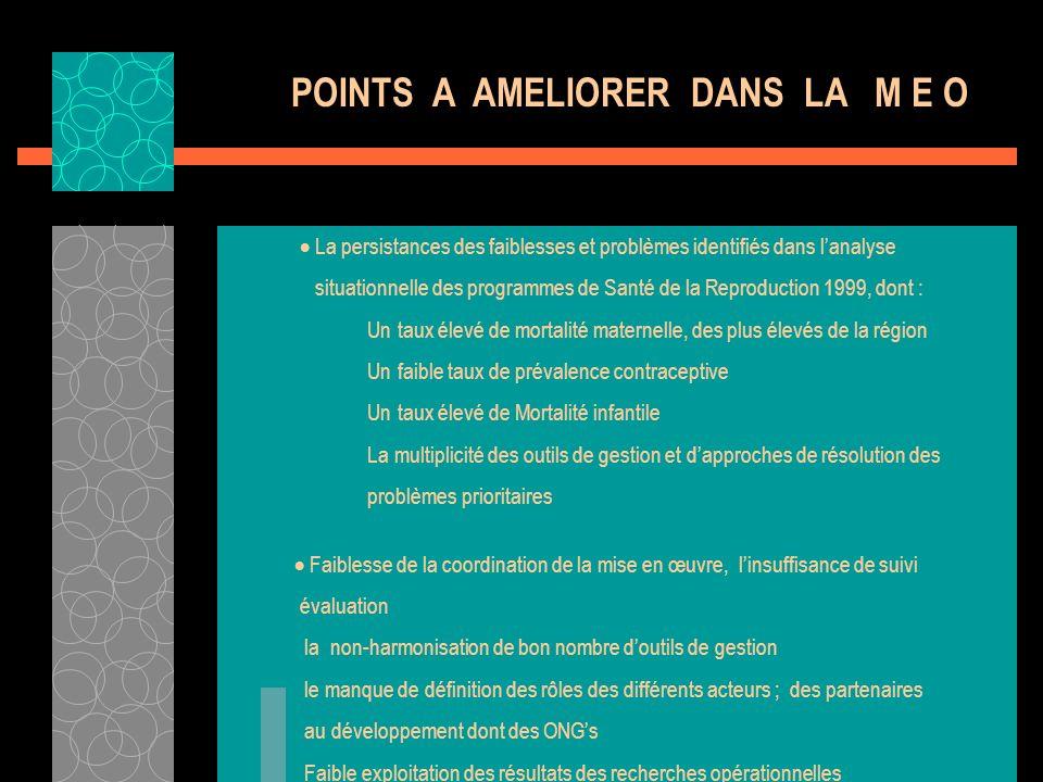 POINTS A AMELIORER DANS LA M E O La persistances des faiblesses et problèmes identifiés dans lanalyse situationnelle des programmes de Santé de la Rep