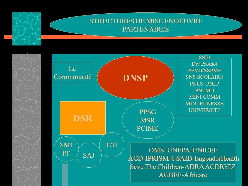 DNSP DSR SAJ SMI PF F/H SSEI Div Promot PEVG/SSPME SNS SCOLAIRE PNLS PNLP PNLMD MINI COMM MIN JEUNESSE UNIVERSITE PPSG MSR PCIME OMS UNFPA-UNICEF ACD-