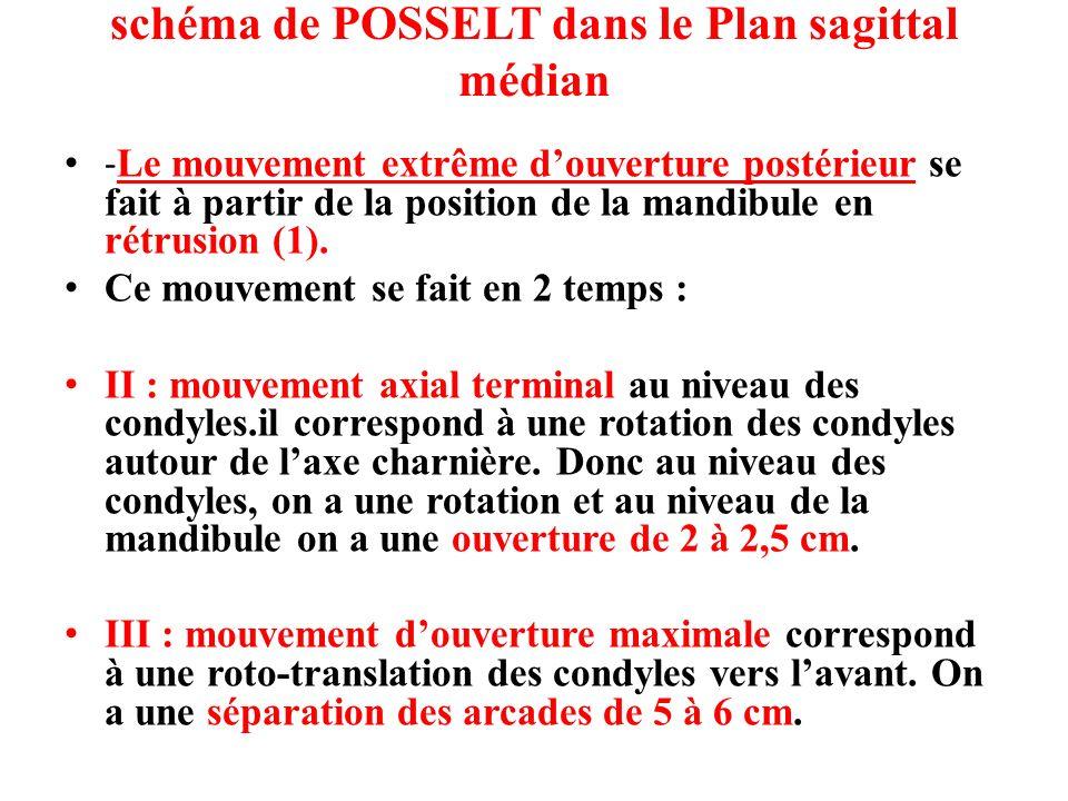 schéma de POSSELT dans le Plan sagittal médian - Le mouvement extrême douverture postérieur se fait à partir de la position de la mandibule en rétrusi