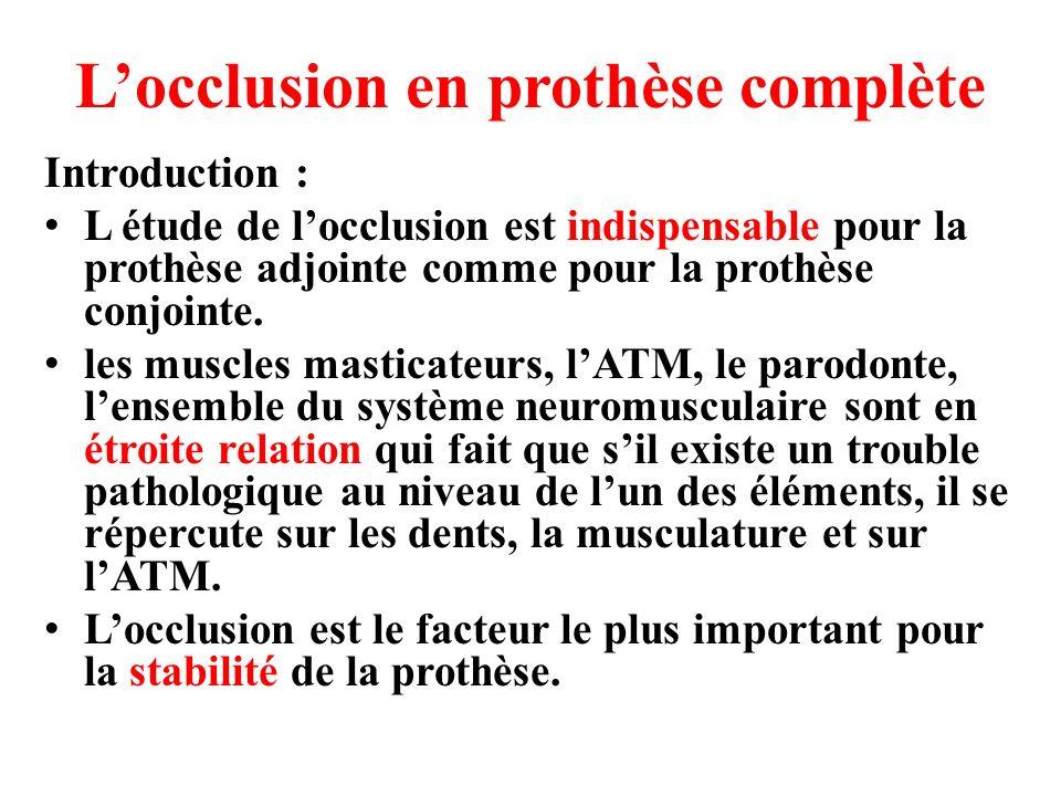 locclusion en prothèse complète en latéralité glissement doux et sans interférences occlusales lors des latérotrusions avec des contacts équilibrants du coté balançant.