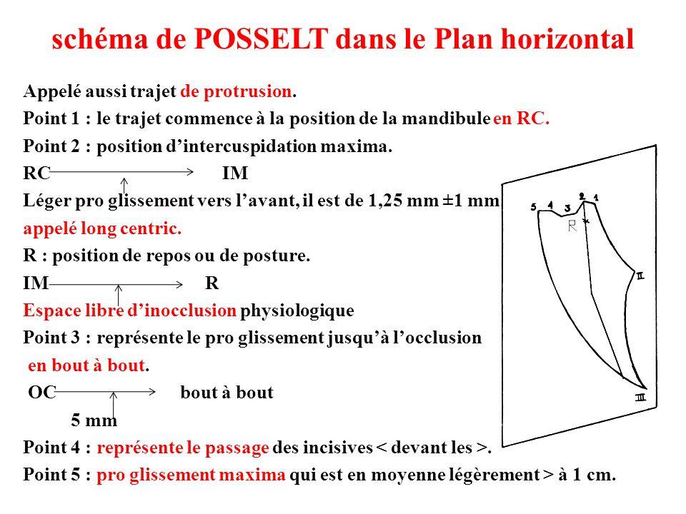 schéma de POSSELT dans le Plan horizontal Appelé aussi trajet de protrusion. Point 1 : le trajet commence à la position de la mandibule en RC. Point 2