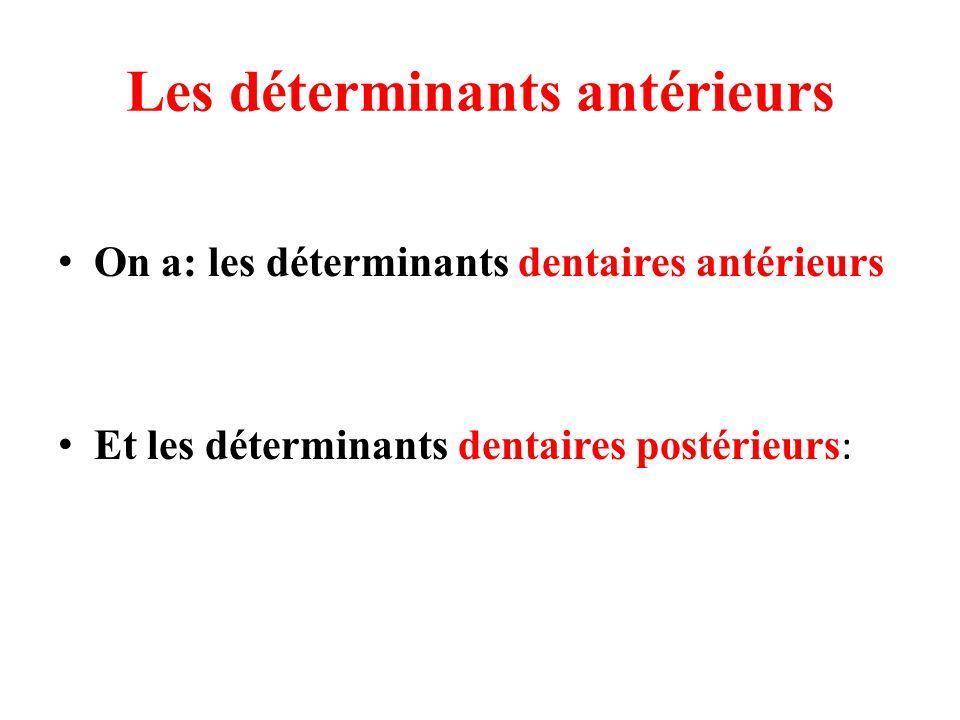 Les déterminants antérieurs On a: les déterminants dentaires antérieurs Et les déterminants dentaires postérieurs :