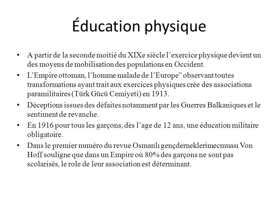 Éducation physique A partir de la seconde moitié du XIXe siècle lexercice physique devient un des moyens de mobilisation des populations en Occident.