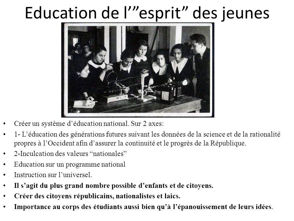 Education de lesprit des jeunes Créer un système déducation national. Sur 2 axes: 1- Léducation des générations futures suivant les données de la scie