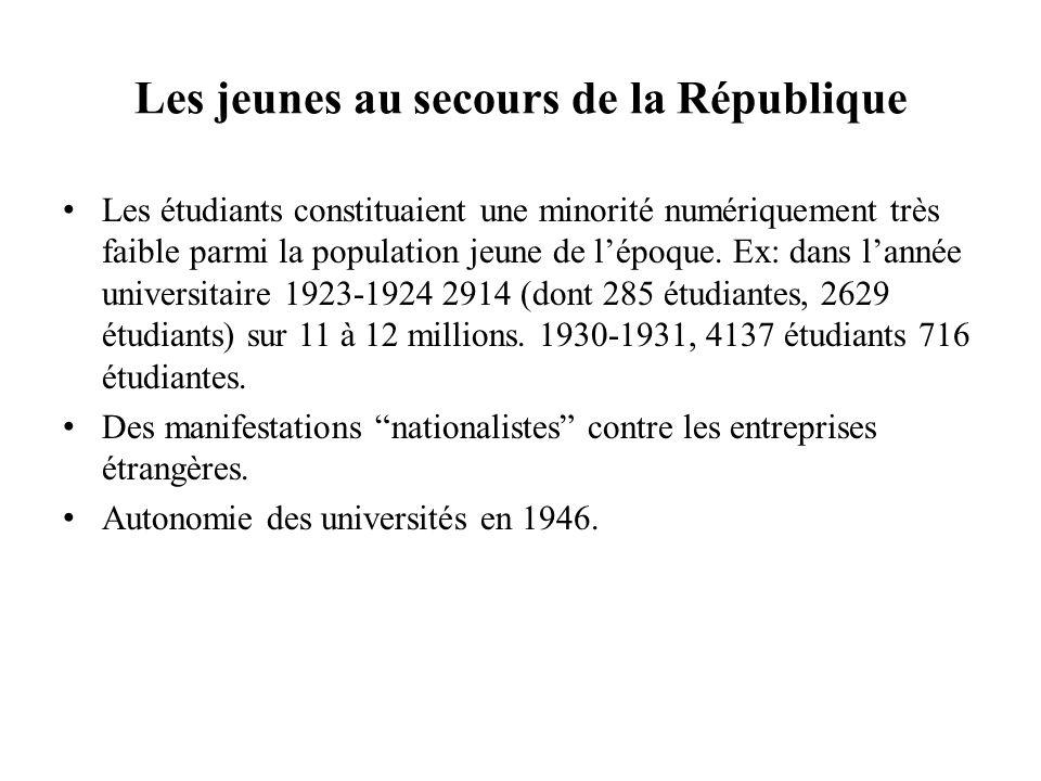 Les jeunes au secours de la République Les étudiants constituaient une minorité numériquement très faible parmi la population jeune de lépoque. Ex: da