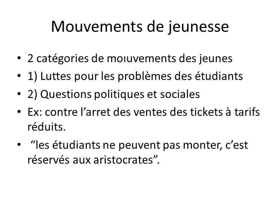 Mouvements de jeunesse 2 catégories de moıuvements des jeunes 1) Luttes pour les problèmes des étudiants 2) Questions politiques et sociales Ex: contr