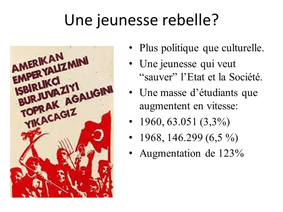 Une jeunesse rebelle? Plus politique que culturelle. Une jeunesse qui veut sauver lEtat et la Société. Une masse détudiants que augmentent en vitesse:
