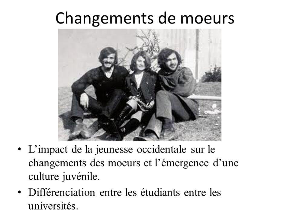 Changements de moeurs Limpact de la jeunesse occidentale sur le changements des moeurs et lémergence dune culture juvénile. Différenciation entre les