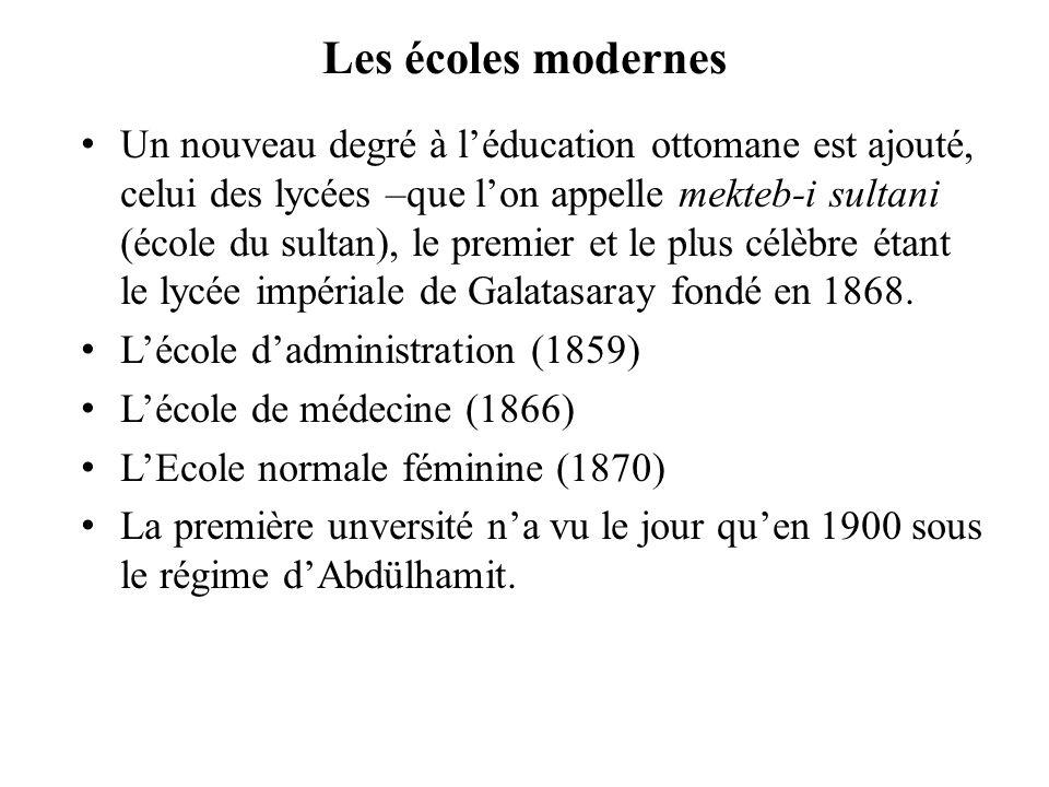 Les écoles modernes Un nouveau degré à léducation ottomane est ajouté, celui des lycées –que lon appelle mekteb-i sultani (école du sultan), le premie
