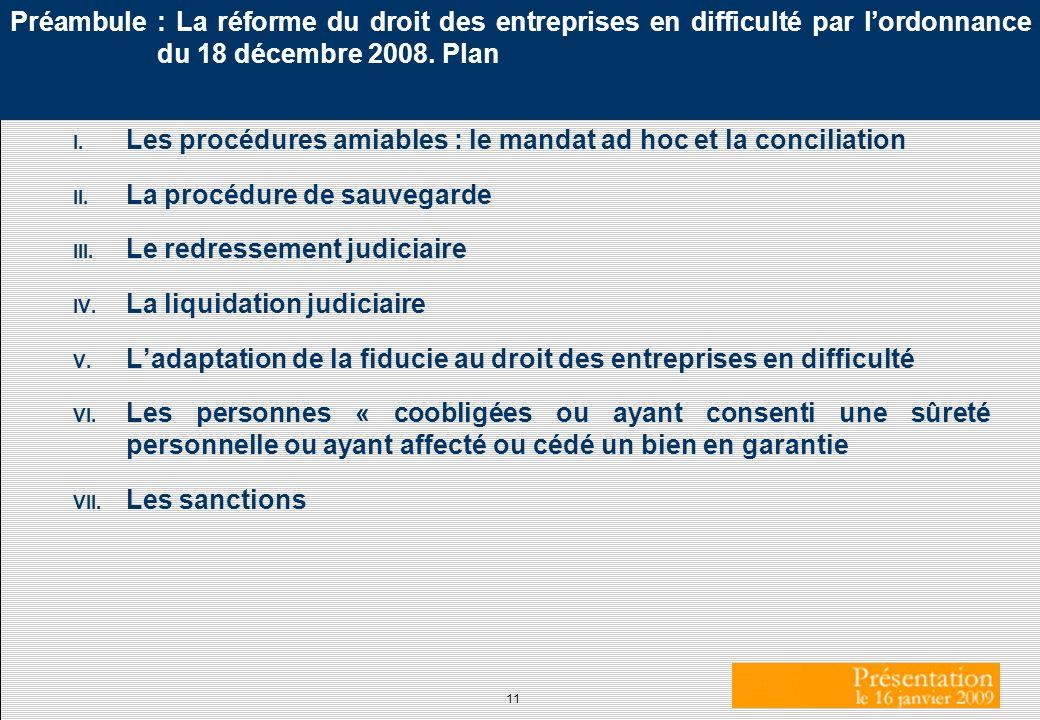 11 Préambule : La réforme du droit des entreprises en difficulté par lordonnance du 18 décembre 2008. Plan I. Les procédures amiables : le mandat ad h