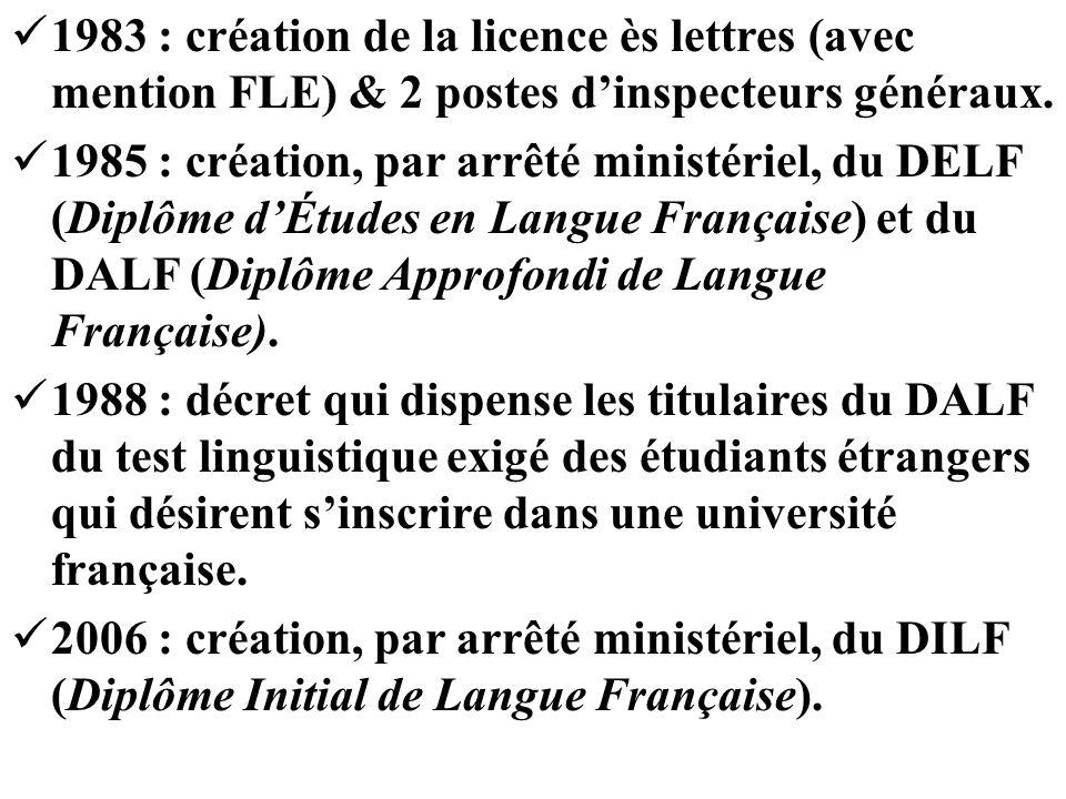 1983 : création de la licence ès lettres (avec mention FLE) & 2 postes dinspecteurs généraux. 1985 : création, par arrêté ministériel, du DELF (Diplôm