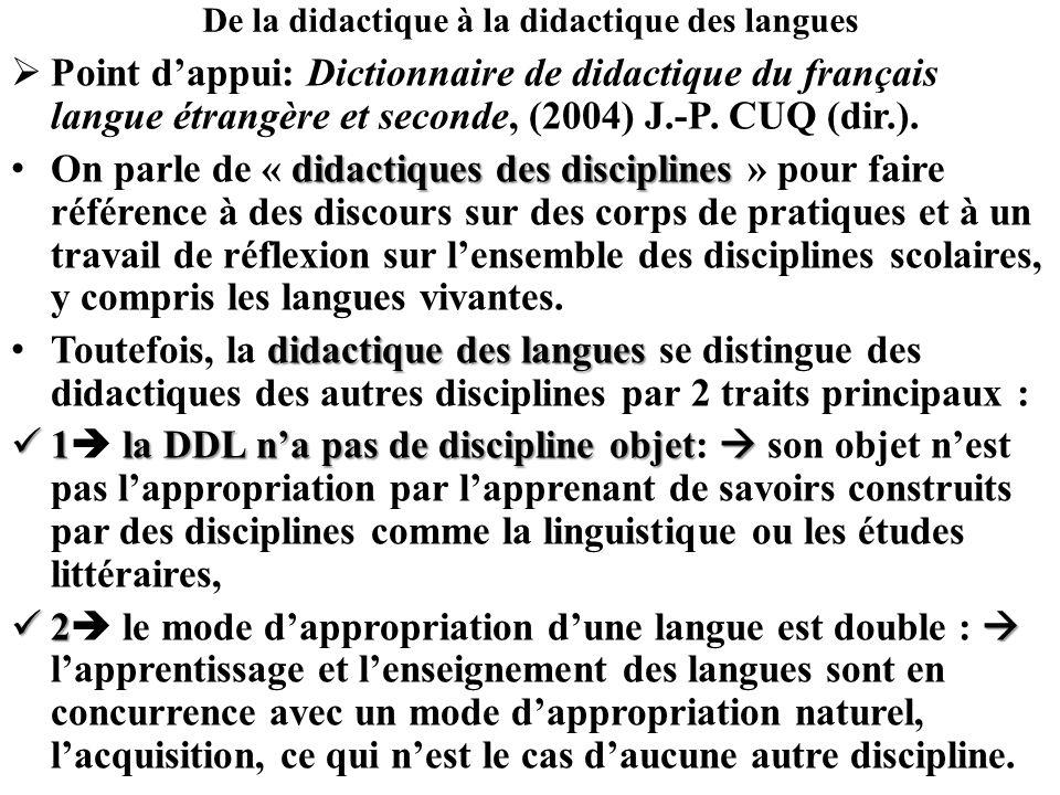 De la didactique à la didactique des langues Point dappui: Dictionnaire de didactique du français langue étrangère et seconde, (2004) J.-P. CUQ (dir.)