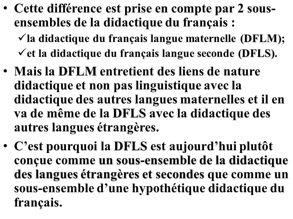 Cette différence est prise en compte par 2 sous- ensembles de la didactique du français : (DFLM) la didactique du français langue maternelle (DFLM); (