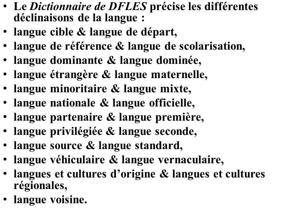 Le Dictionnaire de DFLES précise les différentes déclinaisons de la langue : langue cible & langue de départ, langue de référence & langue de scolaris