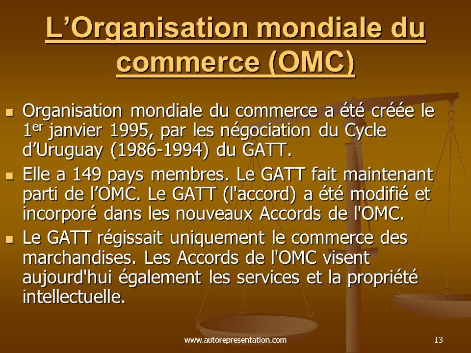 www.autorepresentation.com13 LOrganisation mondiale du commerce (OMC) LOrganisation mondiale du commerce (OMC) Organisation mondiale du commerce a été créée le 1 er janvier 1995, par les négociation du Cycle dUruguay (1986-1994) du GATT.