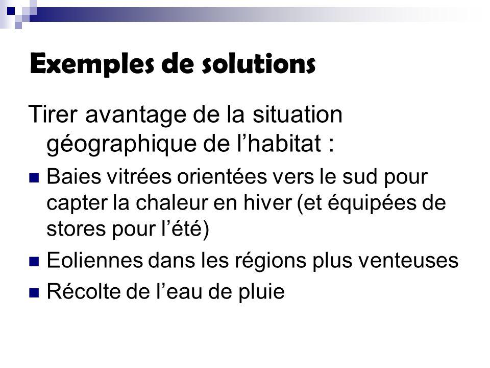 Exemples de solutions Tirer avantage de la situation géographique de lhabitat : Baies vitrées orientées vers le sud pour capter la chaleur en hiver (e