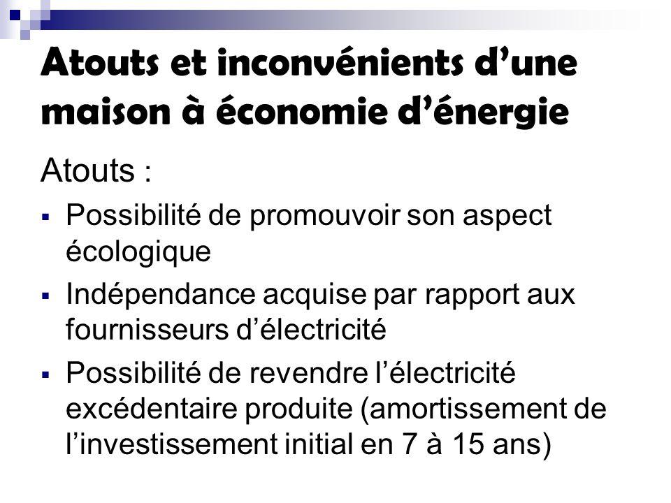 Atouts et inconvénients dune maison à économie dénergie Atouts : Possibilité de promouvoir son aspect écologique Indépendance acquise par rapport aux fournisseurs délectricité Possibilité de revendre lélectricité excédentaire produite (amortissement de linvestissement initial en 7 à 15 ans)