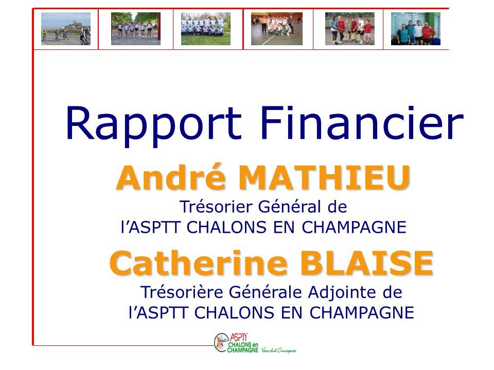 Rapport Financier André MATHIEU André MATHIEU Trésorier Général de lASPTT CHALONS EN CHAMPAGNE Catherine BLAISE Catherine BLAISE Trésorière Générale A