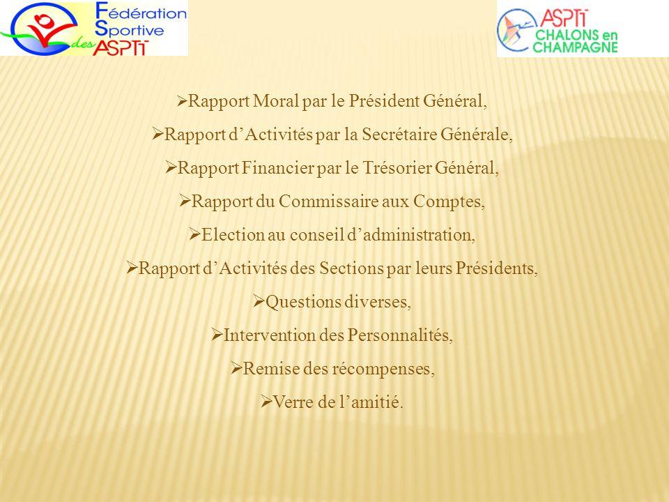 Rapport Moral par le Président Général, Rapport dActivités par la Secrétaire Générale, Rapport Financier par le Trésorier Général, Rapport du Commissa