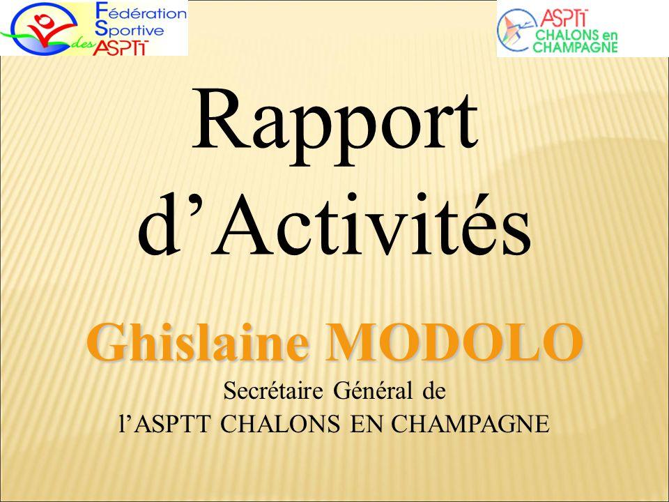 Rapport dActivités Ghislaine MODOLO Ghislaine MODOLO Secrétaire Général de lASPTT CHALONS EN CHAMPAGNE