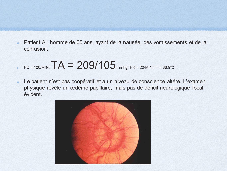 Patient A : homme de 65 ans, ayant de la nausée, des vomissements et de la confusion. FC = 100/MIN; TA = 209/105 mmhg; FR = 20/MIN; T = 36.9 Le patien