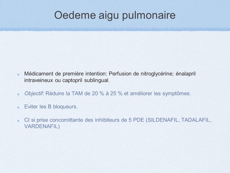Oedeme aigu pulmonaire Médicament de première intention: Perfusion de nitroglycérine; énalapril intraveineux ou captopril sublingual. Objectif: Réduir