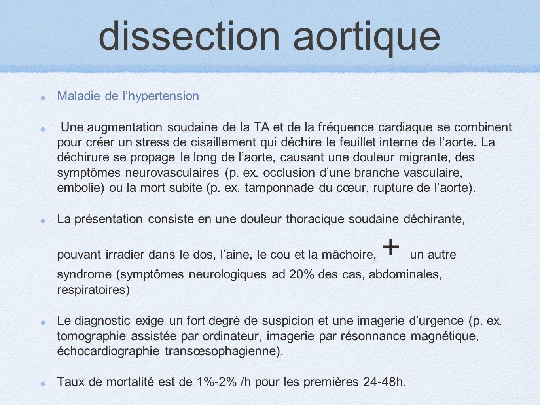 dissection aortique Maladie de lhypertension Une augmentation soudaine de la TA et de la fréquence cardiaque se combinent pour créer un stress de cisa