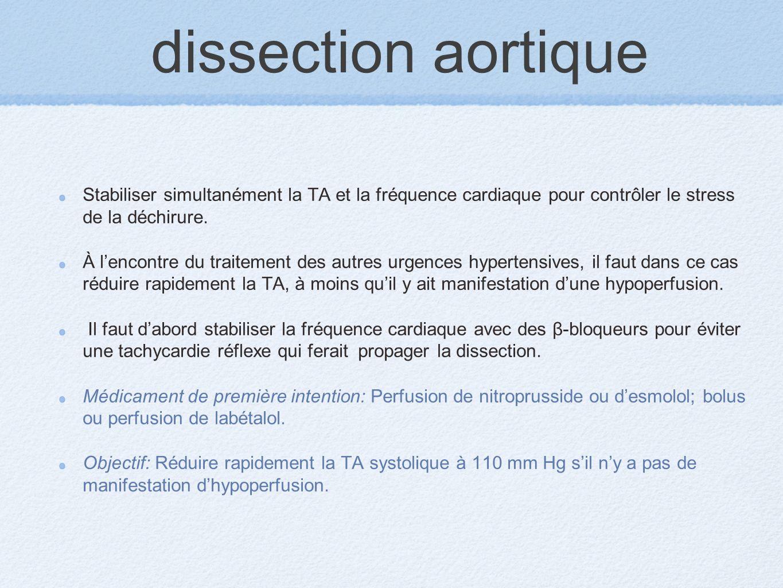 dissection aortique Stabiliser simultanément la TA et la fréquence cardiaque pour contrôler le stress de la déchirure. À lencontre du traitement des a