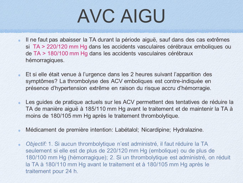 AVC AIGU Il ne faut pas abaisser la TA durant la période aiguë, sauf dans des cas extrêmes si TA > 220/120 mm Hg dans les accidents vasculaires cérébr