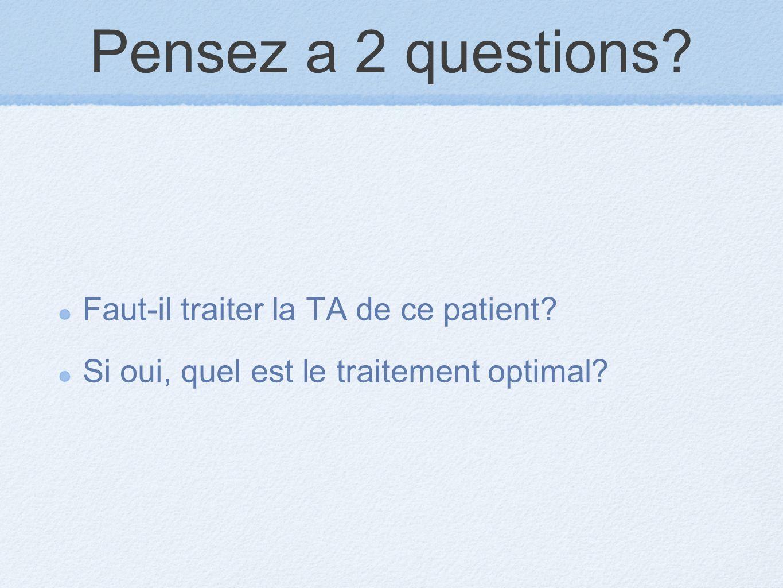 Pensez a 2 questions? Faut-il traiter la TA de ce patient? Si oui, quel est le traitement optimal?