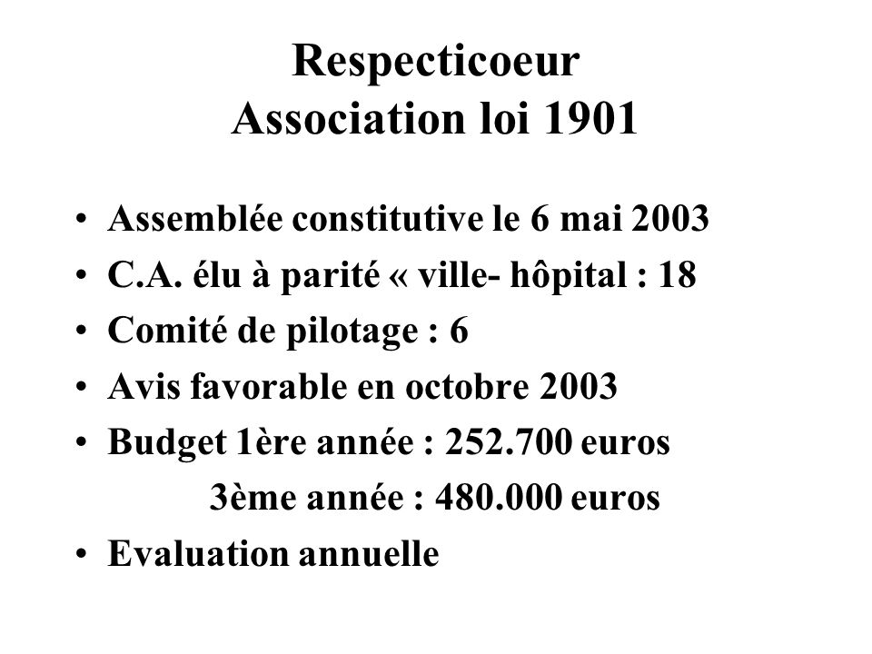 Respecticoeur Association loi 1901 Assemblée constitutive le 6 mai 2003 C.A. élu à parité « ville- hôpital : 18 Comité de pilotage : 6 Avis favorable
