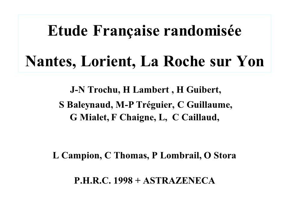 Etude Française randomisée Nantes, Lorient, La Roche sur Yon J-N Trochu, H Lambert, H Guibert, S Baleynaud, M-P Tréguier, C Guillaume, G Mialet, F Cha
