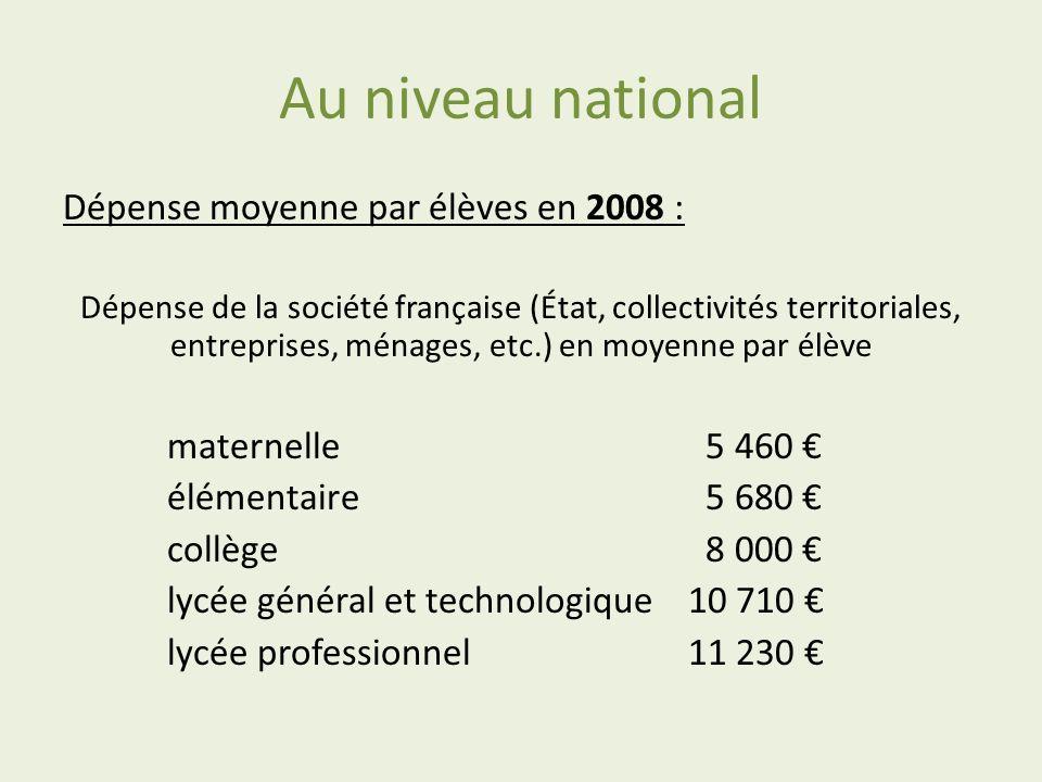 Au niveau national Dépense moyenne par élèves en 2008 : Dépense de la société française (État, collectivités territoriales, entreprises, ménages, etc.