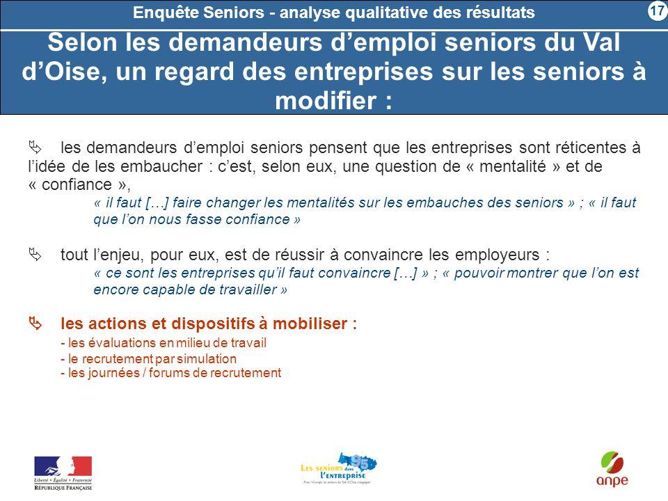 les demandeurs demploi seniors pensent que les entreprises sont réticentes à lidée de les embaucher : cest, selon eux, une question de « mentalité » e