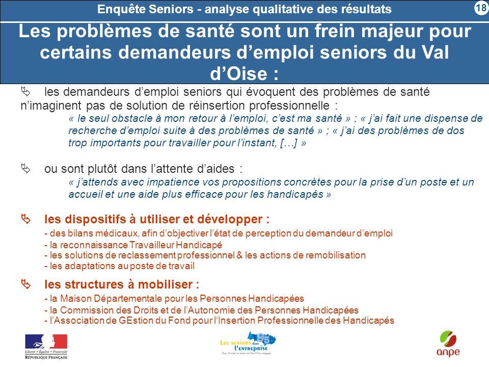 Les problèmes de santé sont un frein majeur pour certains demandeurs demploi seniors du Val dOise : Enquête Seniors - analyse qualitative des résultat